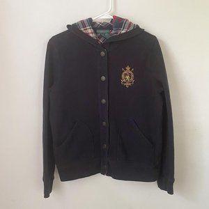 Vintage Ralph Lauren Polo Crest Hoodie Plaid, M